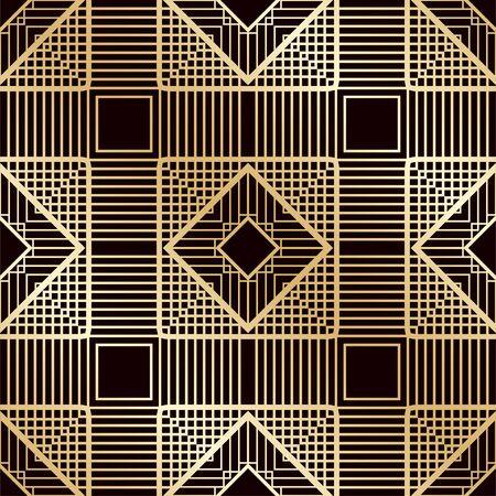アールデコ ヴィンテージ シームレス パターン。デザインのテンプレートです。ベクトル図