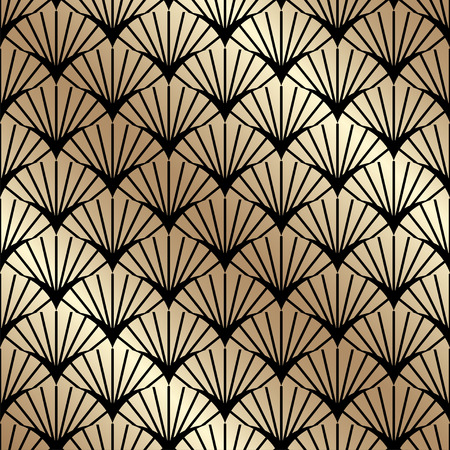 Golden seamless pattern in art deco style.