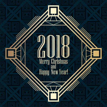 2018 New Year greeting card in art deco golden style. Template for design. Vector illustration eps10
