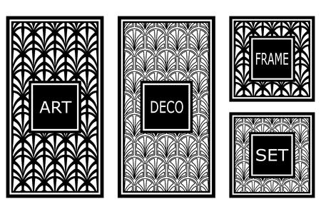 Vintage retro frames set in art decor style. Template for design, vector illustration.