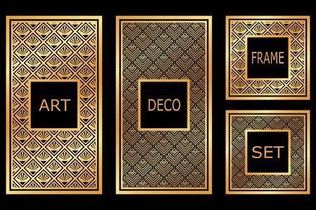 Vintage retro frames set in Art Deco style. Template for design. Vector illustration