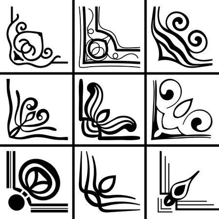 Set of ornamental corners. Template for design