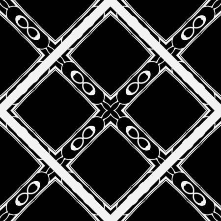 Abstract geometric seamless black and white pattern. Template for design. Vector illustration. Illustration