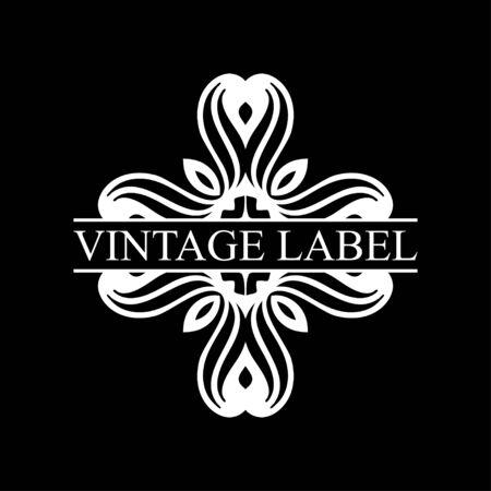 Vintage ornamental retro label. Template for design. Vector illustration