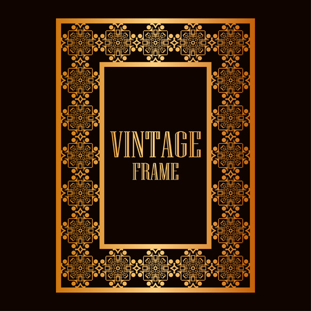 Vintage ornamental decorative label frame with ornate border. Template for design of retro frames, borders, labels. Art deco ornament. Vector illustration