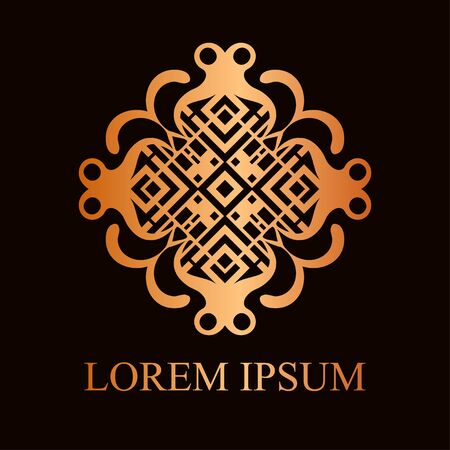 Vintage ornamental logo in art deco style. Template for design of logotypes