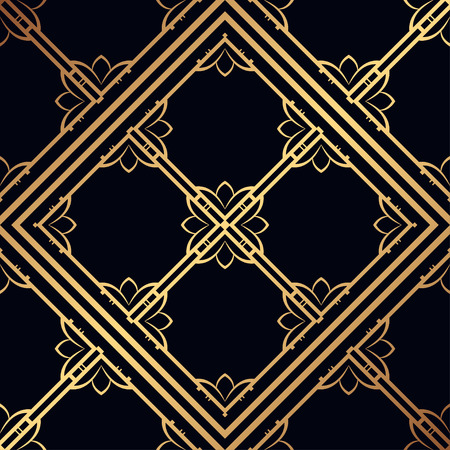 Vintage ornamental seamless pattern. Art deco ornament. Template for design Vettoriali