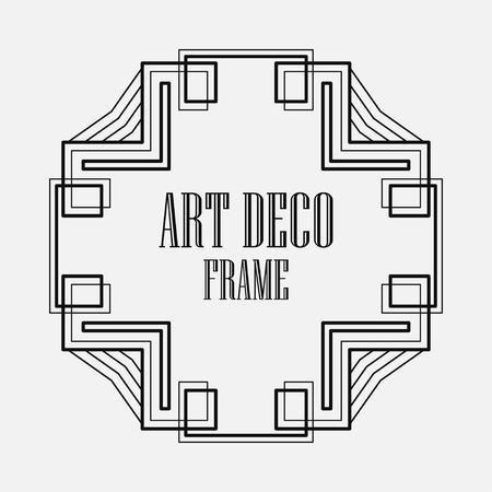 Art Deco black ornamental decorative frame. Template for design