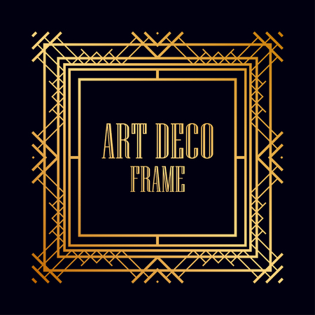 Vintage retro frame in Art Deco style. Creative template in style of 1920s. Vector illustration.