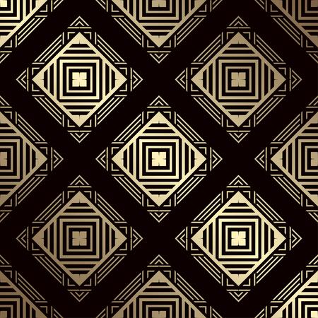 Art Deco Pattern. Seamless golden background. Geometric design. 1920-30s motifs. Luxury vintage illustration
