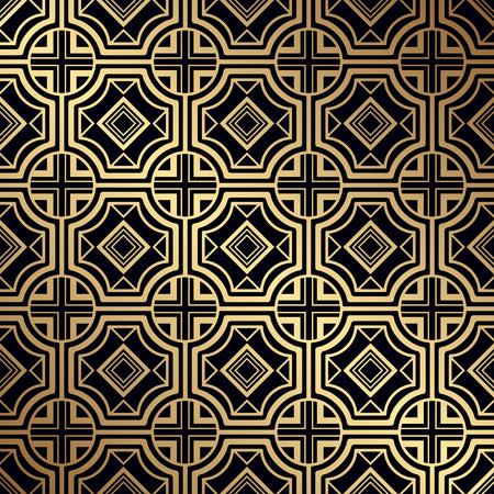 アールデコパターン。シームレスな黄金の背景。幾何学的なデザイン。1920-30年代のモチーフ。高級ヴィンテージイラスト