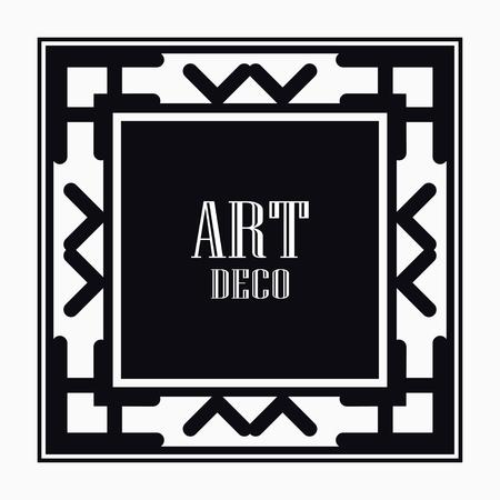 Art Deco black ornamental decorative frame. Vintage ornate border