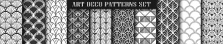 Art Deco Patterns set collection. Black and white luxury backgrounds. Fan scales ornaments. Geometric decorative digital papers. Vector line design. 1920-30s motifs  イラスト・ベクター素材