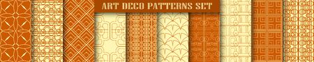 Vector modern tiles patterns collection. Set of abstract art deco seamless monochrome backgrounds