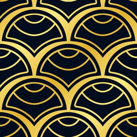 Vintage ornamental art deco retro seamless background and texture. Vector illustration can be used for wrapping paper, wallpapers, tiling, flooring, fabric, textile and other designs.  イラスト・ベクター素材