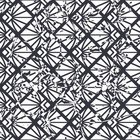 Retro seamless art deco vintage pattern. Geometric ornamental vintage texture with grunge effect.