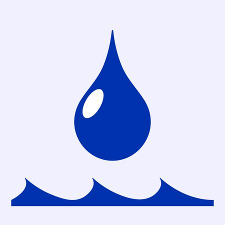 Water drop icon in flat style