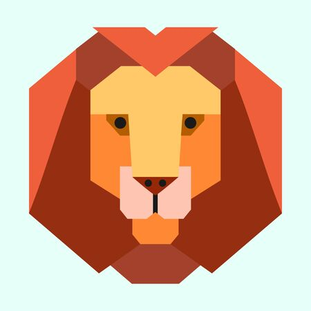 Lion portrait. Flat style design. Vector illustration. Banque d'images - 138034651