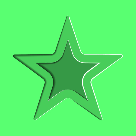 Star on a green background. Greeting card design. Paper cut style. Ilustração