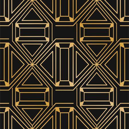 Golden abstract modern background. Vintage seamless art deco pattern. Retro illustration.