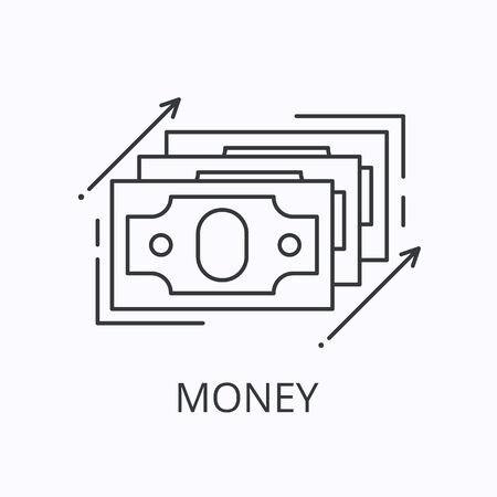 Money thin line icon. Cash concept. Outline r illustration Stock fotó - 135834170
