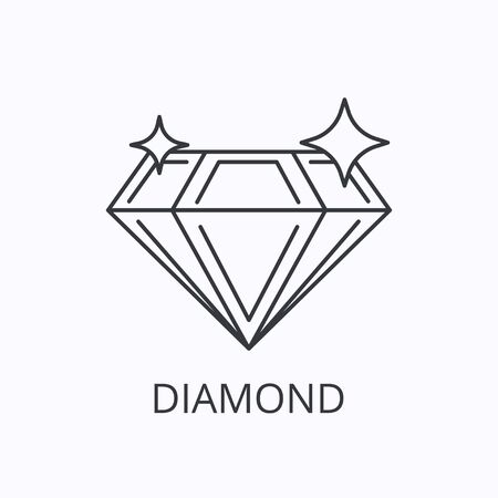 Diamond thin line icon. Success concept. Outline vector illustration