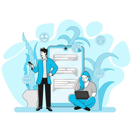Mang and girl communicatin via smartphone. Social messaging concept