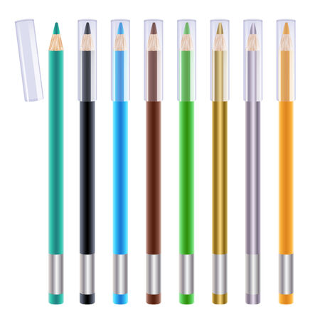 eyeliner: Set of colorful eye liners. Cosmetic pencils illustration. Green, blue, brown, black, orange and metallics. Illustration