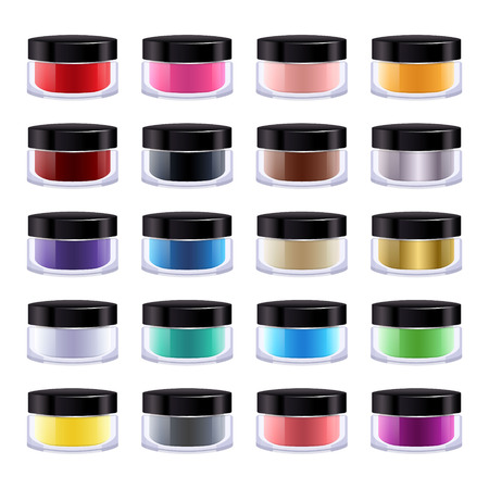 eye liner: Set of colorful cosmetic product in glass or plastic jar. Blush, creamy eye shadow, eye liner or lipstick in small pots.
