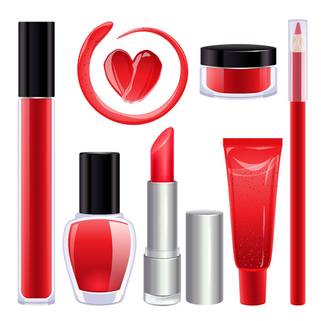 Make-up set for lips and nails. Lipstick, nail polish and lip gloss smudges. Glass pot with product. Pencil lip liner. Red color.