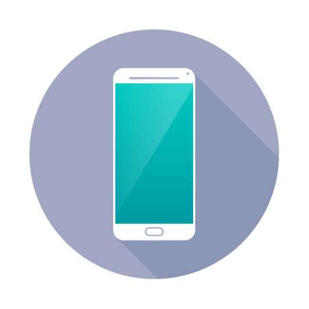 communications technology: Icono Smartphone en c�rculo. Dise�o de la tecnolog�a de comunicaciones.