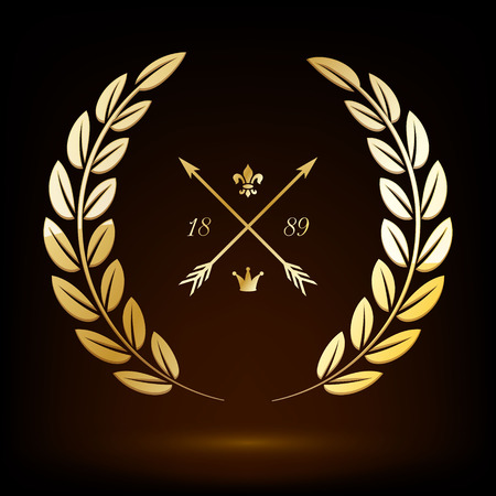 Golden vector laurel wreath with crossed arrows, lily and crown. Иллюстрация