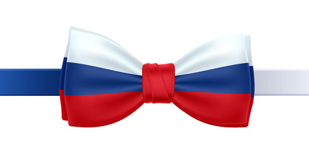 blue tie: Bow tie with Russia flag vector illustration. Russia  symbol on white background. National celebrations design.