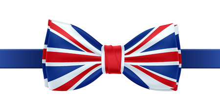 british flag: Bow tie with UK flag vector illustration. Great Britain symbol on white background. National celebrations design.
