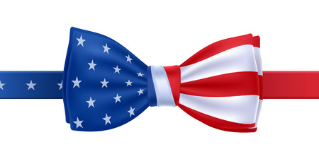 blue ribbon: Bow tie with USA flag vector illustration. United States symbol on white background. Stars and stripes. National celebrations design.