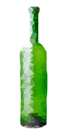 wine vineyards: Green wine bottle faceted illustration. Small poligons. Illustration