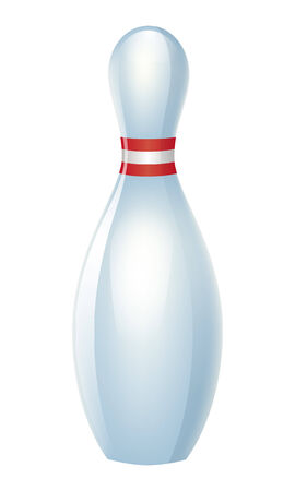 skittle: Single bowling pin with red stripes isolated on white back. Illustration