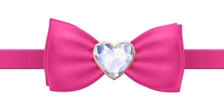 lazo rosa: Pajarita rosa con broche de diamantes coraz�n. Acsessory Glamorous.