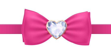 bows: Pink bow tie with heart diamond brooch. Glamorous acsessory. Illustration