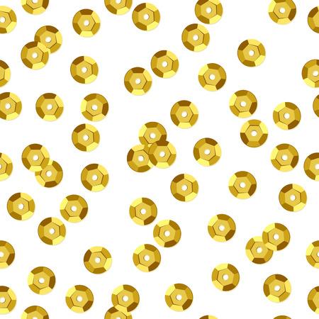 sequin: Golden sequins seamless pattern - white background. Illustration