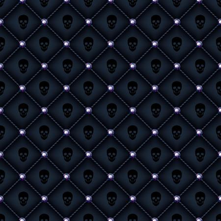 glam: Seamless fondo acolchado negro del glam con alfileres de diamantes negros y los cr�neos de impresi�n.