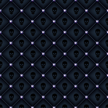 corduroy background: Seamless glam black quilted background with black diamond pins and skulls print.