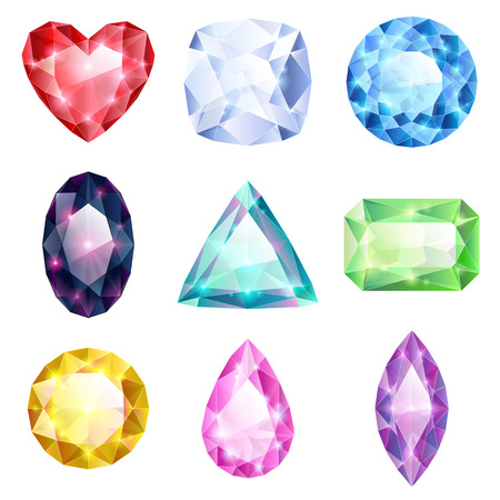 Set of realistic glowing colorful jewels. Different gemstones isolated on white background. Vector
