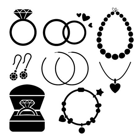jewelry boxes: Set of different jewelry icons. Flat style.