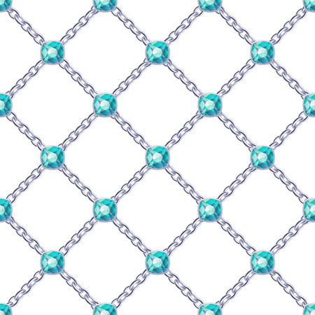 green gemstones: Seamless pattern with crossed silver chains and green gemstones. Jewelry background.