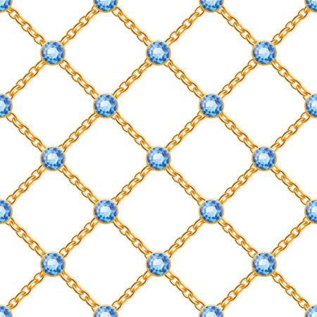 Modelo inconsútil con los cruzados cadenas de oro y piedras preciosas azules redondas. Fondo de la joyería.