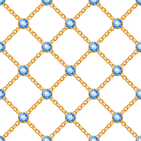 Seamless pattern with crossed golden chains and blue round gemstones. Jewelry background. Vector