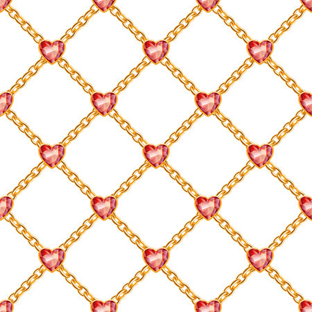 Seamless pattern with crossed golden chains and red heart gemstones. Jewelry background. Vector