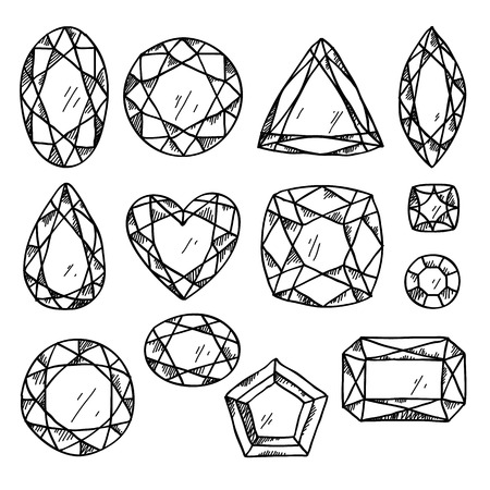 Set of black and white jewels. Hand drawn gemstones. Sketch style illustration. Vector