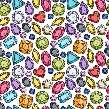 Naadloos patroon van kleurrijke juwelen. Hand getrokken edelstenen. Schets stijl illustratie.